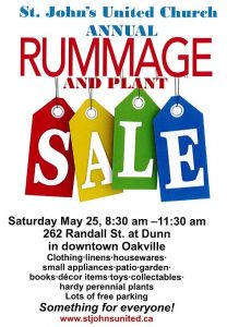 Saturday May 25th 8 30am RUMMAGE SALE – St  John's United Church